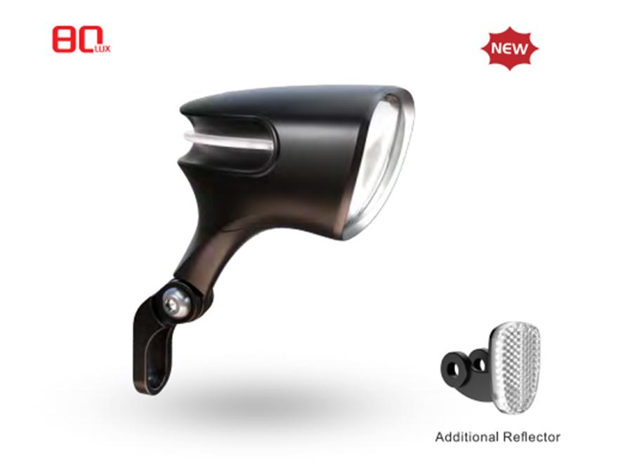 Sate-lite OSRAM 80lux ebike light ISO 6721-1 StVZO ECE eletric bike headlight with ECE reflector front fork 12-58V